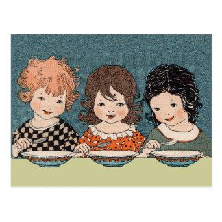 Vintage Little Girls Eating Soup Three Sisters Postcard