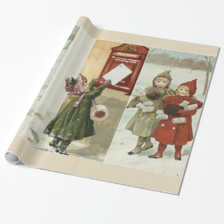 Vintage little girls with parcels and letters wrapping paper