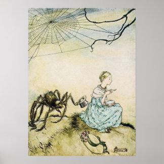 Vintage Little Miss Muffet by Arthur Rackham Poster