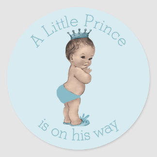 Vintage Little Prince Baby Shower Blue Round Sticker