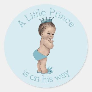 Vintage Little Prince Baby Shower Blue Round Sticker
