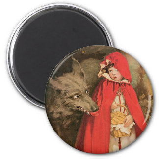 Vintage Little Red Riding Hood and Big Bad Wolf 2 Inch Round Magnet
