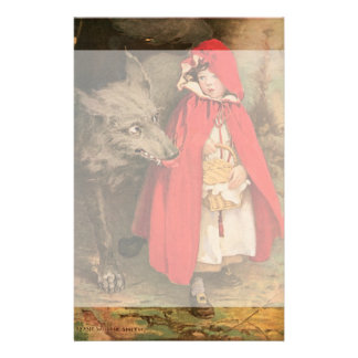Vintage Little Red Riding Hood and Big Bad Wolf Custom Stationery