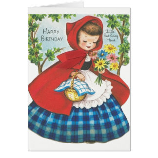 Vintage Little Red Riding Hood Birthday Card