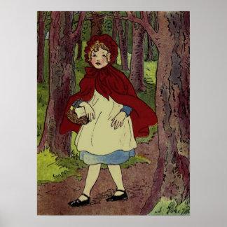 Vintage Little Red Riding hood book art Poster