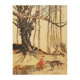 Vintage Little Red Riding Hood Graphic on Wood Wood Canvases