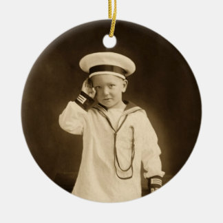 Vintage little sailor ceramic ornament