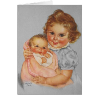 Vintage Little Sister Baby Note Card
