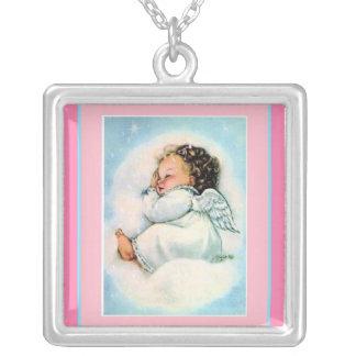 Vintage Little Sleeping Angel ~ Pink Necklace
