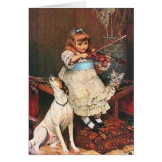 Vintage - Little Violinist & Howling Dog, Card