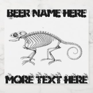 Vintage lizard skeleton beer bottle label