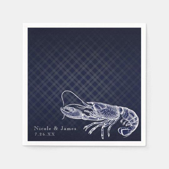 Vintage Lobster Navy Blue Elegant Chic Reception Paper Napkins