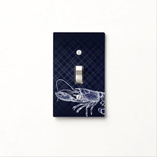 Vintage Lobster Navy Blue Elegant Chic Sea Food Light Switch Cover