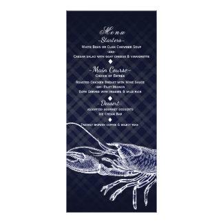 Vintage Lobster Navy Blue Elegant Party Menu Card