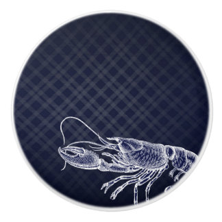 Vintage Lobster Navy Blue Elegant Sea Food Decor Ceramic Knob