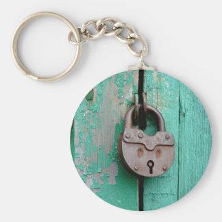 VINTAGE LOCK GREEN DOOR BASIC ROUND BUTTON KEYCHAIN
