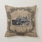 Vintage Locomotive Burlap Throw Pillow