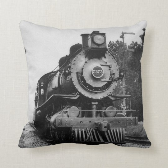 Vintage Locomotive Steam Engine 7373 Railroad Throw Pillow