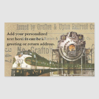 Vintage Locomotive Train Railroad Return Address Sticker