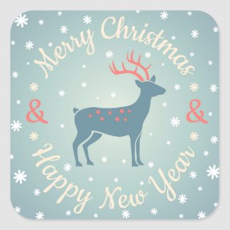 Vintage logo with deer for Christmas Square Sticker