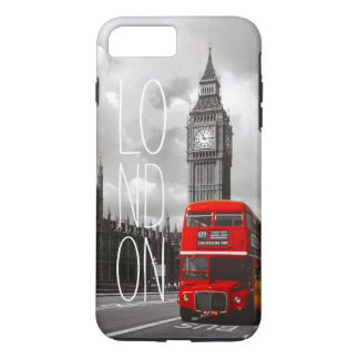 Vintage London City Red Bus Big Ben Typography iPhone 7 Plus Case