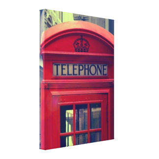 Vintage London City Red Public Telephone Booth Canvas Print