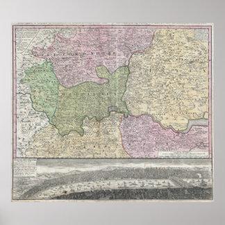 Vintage London England Regional Map (1741) Poster