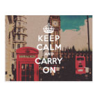 Vintage London Landmark Keep Calm And Carry On Postcard