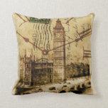 vintage london landmark landscape big ben throw pillow