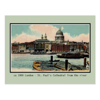 Vintage London St. Paul's Cathedral from Thames Postcard