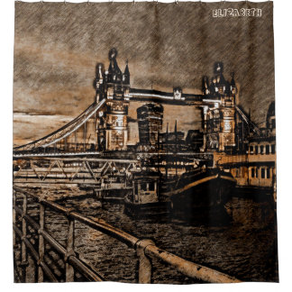 Vintage London Tower Bridge In Rainy Day Drawing