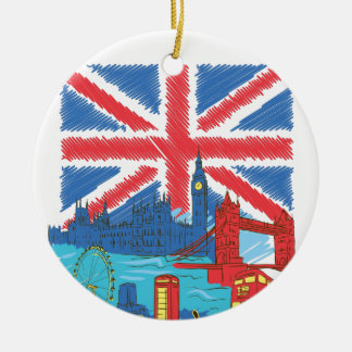 vintage lone flag and cities ceramic ornament