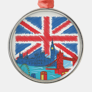 vintage lone flag and cities metal ornament