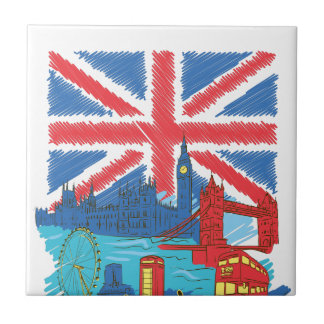 vintage lone flag and cities tile