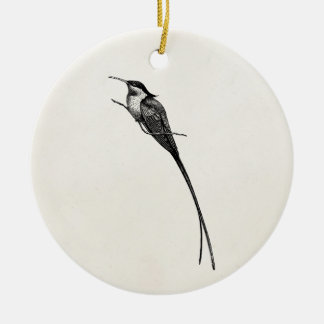 Vintage Long Tailed Hummingbird Illustration Ceramic Ornament
