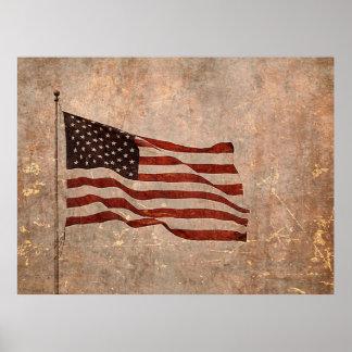 Vintage Look American Flag on Antiqued Background Poster