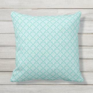 Vintage look Aqua & White Damask #3 Throw Pillow