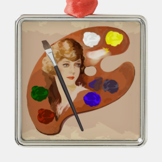 Vintage look artist pallette with womans face Silver-Colored square ornament