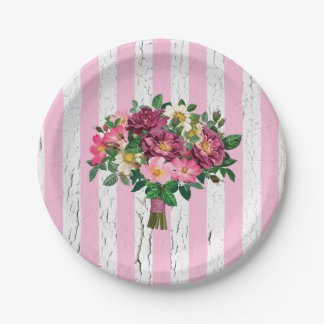 Vintage Look Bouquet Wild Roses Weathered Paper Plate