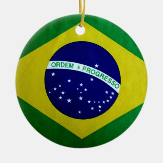 Vintage look Brazilian Flag Round Ceramic Ornament