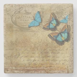 Vintage Look Butterflies Stone Coaster