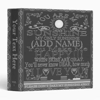 Vintage Look Custom Chalkboard Sunshine Vinyl Binder