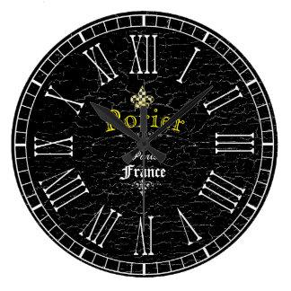 Vintage Look Fleur-De-Lis Personalize Large Clock