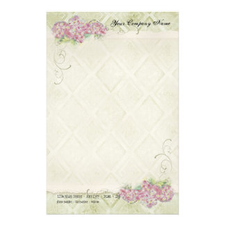 Vintage Look Floral Blue Hydrangea Flowers Swirl Stationery