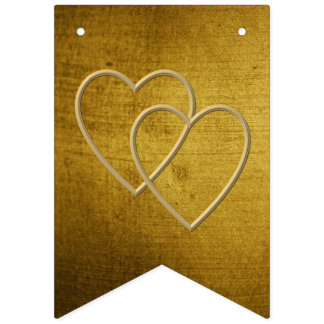 Vintage-Look gold used Two golden hearts Bunting Flags