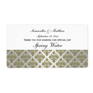 Vintage Look Gold & White Damask #3 Water Label Shipping Label