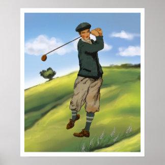 Vintage look Golfer Golf Print