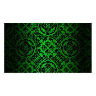 Vintage look Green & Black Damask #4 Business Card