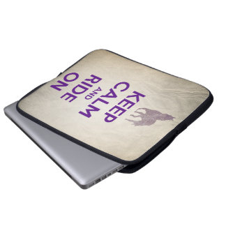 Vintage Look Keep Calm and Ride On Horse Laptop Sleeve