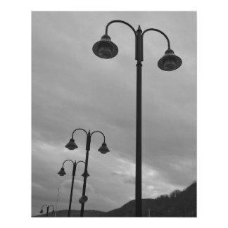 Vintage Look Lampposts B&W Poster